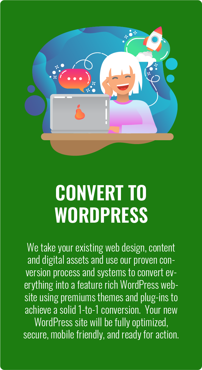 WordPress site conversion from HTML WIX Joomla Drupal GoDaddy