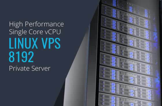Linux VPS 8192 Single Core High Performance Private Servers in Maryland Virginia Washington DC